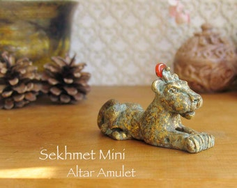 Sekhmet Altar Amulet - Studio Second - Reclined Mini Lioness with Carnelia Solar Disc - She Who Is Powerful - Handcrafted -Aged Brass Patina