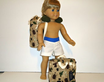 Luggage Set fitting 18 inch doll american made for boy girl suitcase duffel bag neck pillow brown insects camping gear