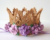 Purple and Gold Birthday Crown - Purple Lavender Lilac Flowers - Baby Gold Crown - Photo Prop - First Birthday Crown - Cake Smash