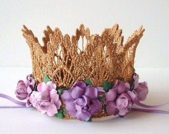 Gold Crown Cake Topper with Purple Lilac Lavender Flowers - Bridal Shower - Baby Shower - Birthday Party Cake Topper