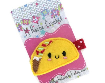 Taco hair clip, taco felt clip, food hair clip, baby hair clip, toddler hair clip, hair accessory, hair clippies, baby barrettes
