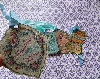 4 Vintage Inspired French Label Hang Tags - Pink - Stamped - Favors - Gift wrapping