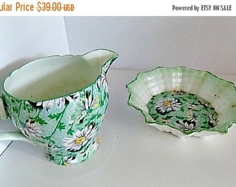 Antique Creamer Sugar Cottage Chic - Shelley - Daisies - Chintz
