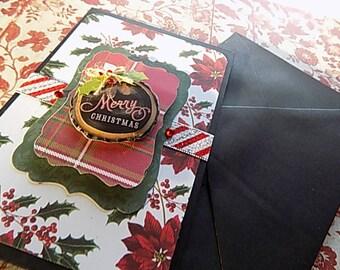 Handmade Christmas Card - Merry Christmas - Red Black White