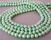 Mint green freshwater pearls, 7mm light green pearls, pastel green freshwater, full strand
