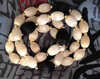 SALE! Vintage 50's Style Black and White Satin Thread Bead Necklace Mad Men