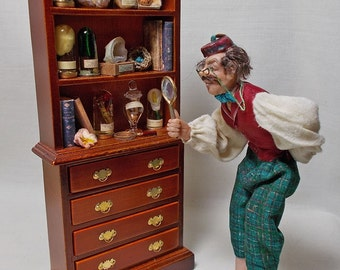 The Dolls House Miniature Teaky Walnut style Victorian Museum / Collector's Collection (V2)