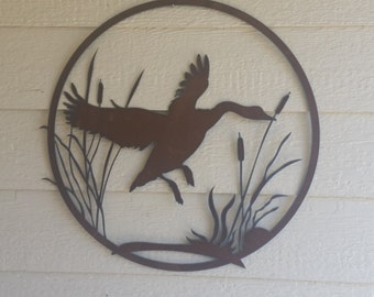 "Geese #3 and Cattails Rustic Decor 24"" custom garden art Rustic Flying Geese Metal ducks"