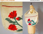 30%OFF 1930s Linen Bag / Embroidered Bag / 30s