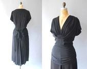 sale 1940s Dress / A Bow Behind Dress / 40s