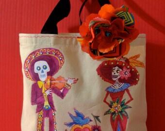 Canvas Tote Bag, Sugar Skull, Wedding Tote ,Dias de los Muertos, Mexican Wedding