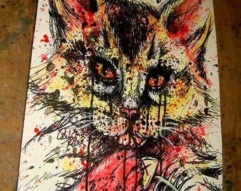 ORIGINAL 11x14 in Acrylic Painting - Bad Kitty - Edgy Colorful Pop Art Cat Painting