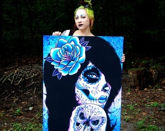 30x40 in HUGE Stretched Canvas Print - Harmony - Colorful Blue and Pink Butterfly Tattooed Sugar Skull Girl