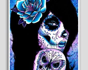 25 Percent OFF Harmony 18x24 inch poster sized art print - Day of the Dead Sugar Skull Girl Pop Art Portrait Illustration Wall Art Tattoo In