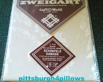 1 - Zweigart - Schonfels Damask - 11 Count - 11 x 11 - Cotton & Viscose - New