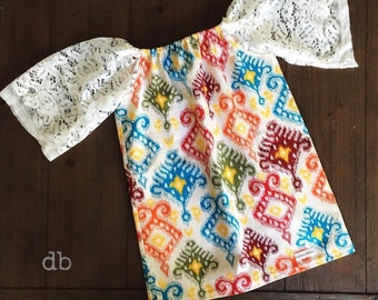 SALE Size 2 Boho Baby Dress with Lace sleeves. One of a Kind and Ready to Ship