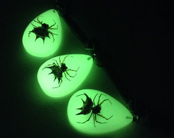 Three Glow-the-Dark Spider Necklace
