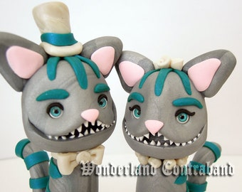 Ready to Ship - Mr. and Mrs. Cheshire Cat - Wedding Cake Topper - ORIGINAL OOAK Miniature Sculptures - Decor