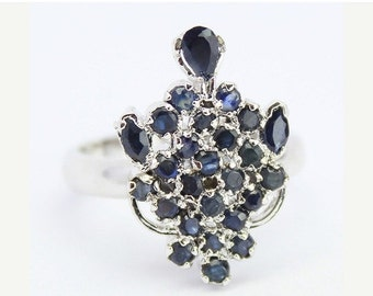 VALENTINE SALE 55% Blue Sapphire Sterling Silver Ring 1514RG