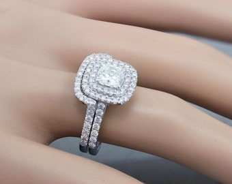 GIA H-VS2 18K White Gold Cushion Cut Diamond Engagement Ring And Band 1.85ct