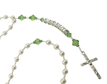 Pearl & Peridot First Communion rosary with personalization-Baptism Christening Catholic Cross Prayer Beads-Gift,godparent, rosary necklace