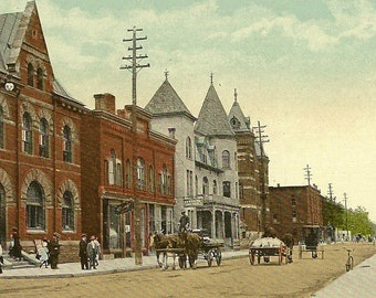 PETROLIA Ontario Vintage Postcard Post Office and Main Street 1915 Great Street View