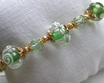 Peridot Bracelet Lime Green Lamp Work Four Leaf Clover Irish Beaded Bracelet
