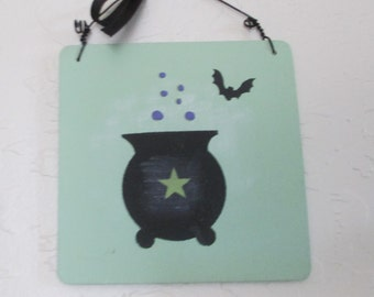 Small Wooden Halloween Sign - Wooden Sign with Cauldron