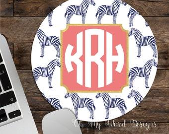 Zebra Monogram Mouse Pad-Monogram Mouse Pad-Desk Accessories-Preppy Mouse Pad-Round Mouse Pad
