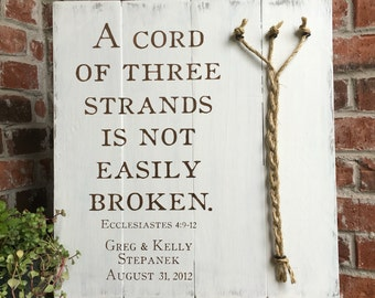 A Cord of three strands, Ecclesiastes 4:9-12, RUSTIC WHITE, Wood sign, Rope Detail, Rustic Wedding Decor, Unity Ceremony, 3 Cords, Divinity