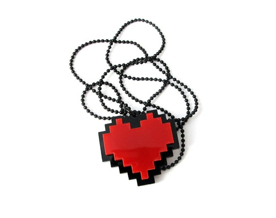 Pixel Heart Necklace - Undertale cosplay of Frisk chain