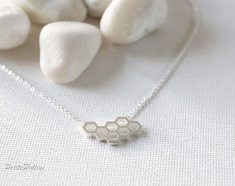 Honey Comb Necklace in Silver/ Gold. Honeycomb Necklace. Collarbone Necklace. Birthday Gift. Everyday Wear. Gift For Her (PNL-126)