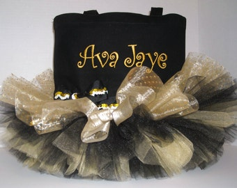 Personalized TuTu Totebag Black and Gold Colors
