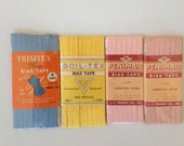 Double Fold Bias Tape – Blue, Pink & Yellow - Set of 4 Packages - Vintage