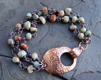African Opal and Copper Multi-Strand Bracelet