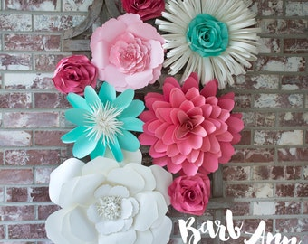 Large Paper Flower Wall Decor for Weddings, Bridal Showers, Nursery, Office, Bedroom or Living Room Decorations, Removable Wall Art
