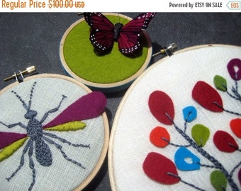 On Sale Hoop Art. Hand Embroidery.Tree. Wasp. Butterfly. home decor. housewarming gift. wool felt. nature lover's gift. hand embroidered by
