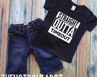 """Toddler Boy Black Tee - Straight Outta """"CUSTOM TEXT"""" or Straight out of Timeout - Custom Vinyl Shirts for Toddlers, Boys, Babies"""