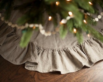 tree skirt READY TO SHIP 36 inch flax linen