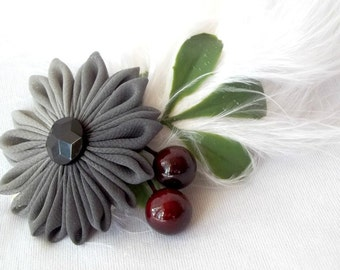 Holiday Colors Feather Fascinator with Gray Ombre Flower