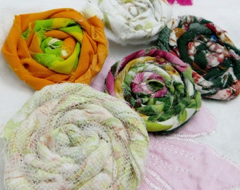 Five Handmade Fabric Rosettes Vintage Fabric and Tulle Felt Backed For Crafting, Sewing, Magnets Etc