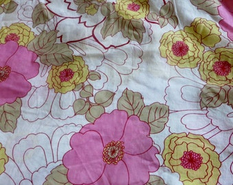 Lightweight Cotton Fabric Bold Flowers White and Pink and Golden Yellow Large Floral Summertime Fabric One Yard