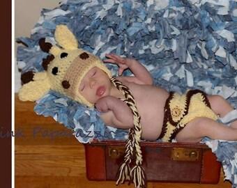 Giraffe Hat and Diaper Cover Set, Newborn Giraffe outfit, Giraffe, Newborn Photo prop, Baby boy, Baby girl