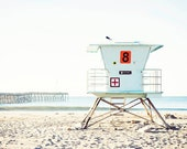 "Ventura California, Pale Blue White Coastal Beach Decor, Ventura Pier, Lifeguard Tower Art, Beach Photography, ""Ventura Tower"""
