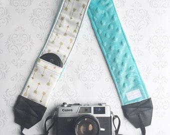 DSLR Minky Camera Strap, Padded with Lens Cap Pocket, Nikon, Canon, DSLR Photography, Photographer Gift, Wedding - Gold Arrows with Aqua