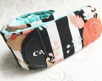 Camera Strap Cover with Lens Cap Pocket - Padded Minky, DSLR Camera Strap Cover, Photographer Gift - Striped Floral with Aqua