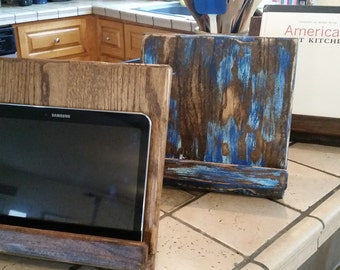 IPad Stand, Kitchen IPad Stand, Rustic Cookbook Stand, IPad Holder,  Reclaimed Wood