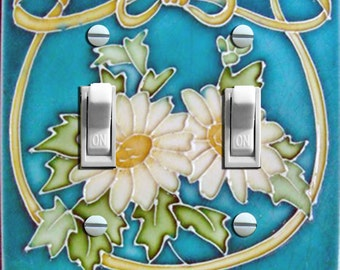 Art Nouveau MAJOLICA Tile c. 1900  Double Switch Plate ***FREE SHIPPING***