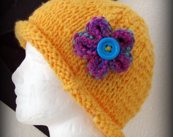yellow hat - knit hat - hand knit hat - yellow knit hat - knit flower - yellow hand knit hat - funky hat - fashion hat - fun hand knit hat