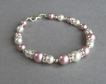 Blush Pink Bracelet - Powder Rose Pearl and Crystal Bridal Party Jewelry - Bridesmaids Jewellery - Dusky Pink Wedding - Bridesmaid Gifts